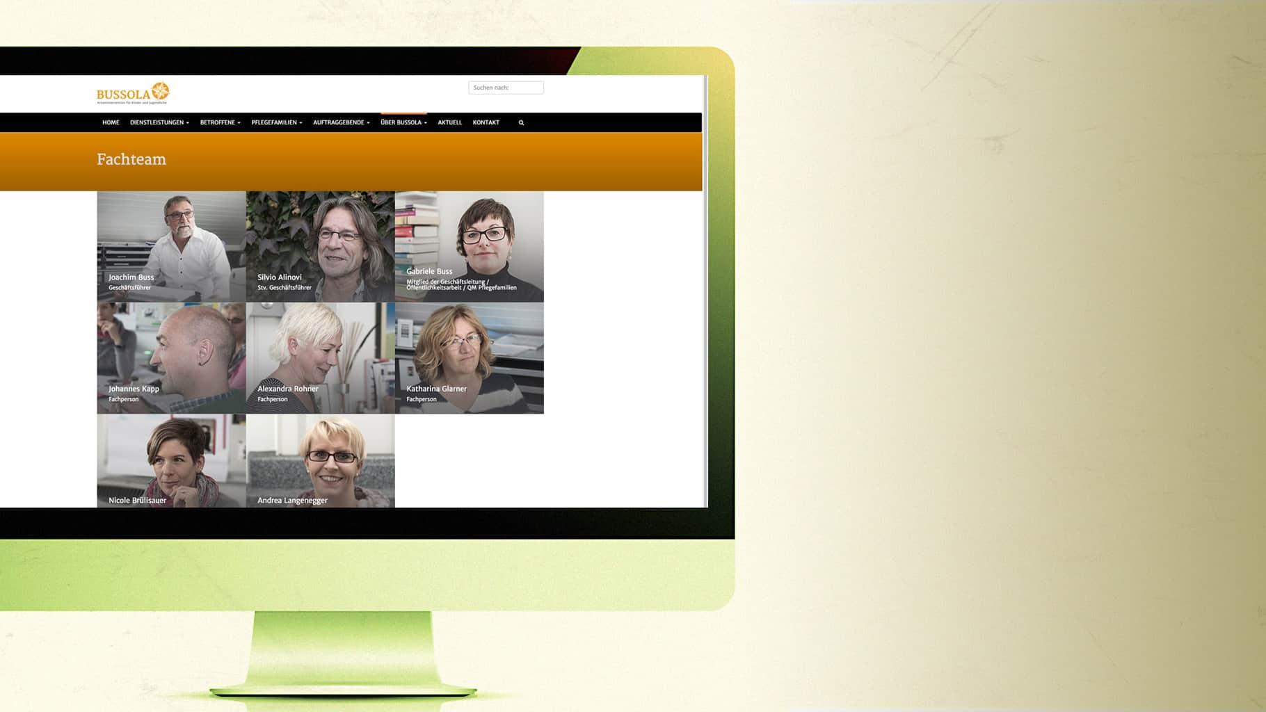 Website Bussola: Fachteam