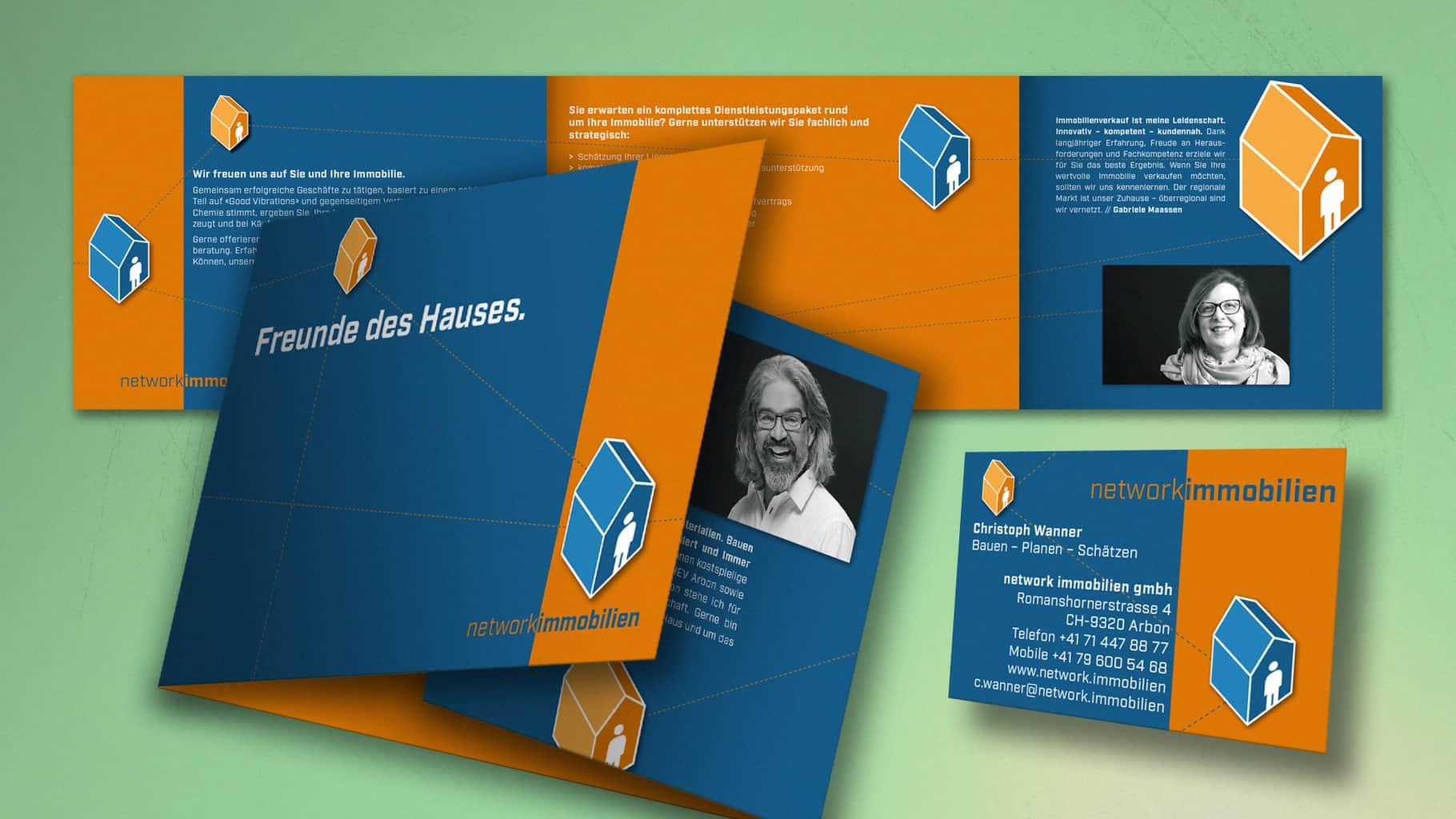 Mailing mit eingesteckten Visitenkarten für network immobilien GmbH