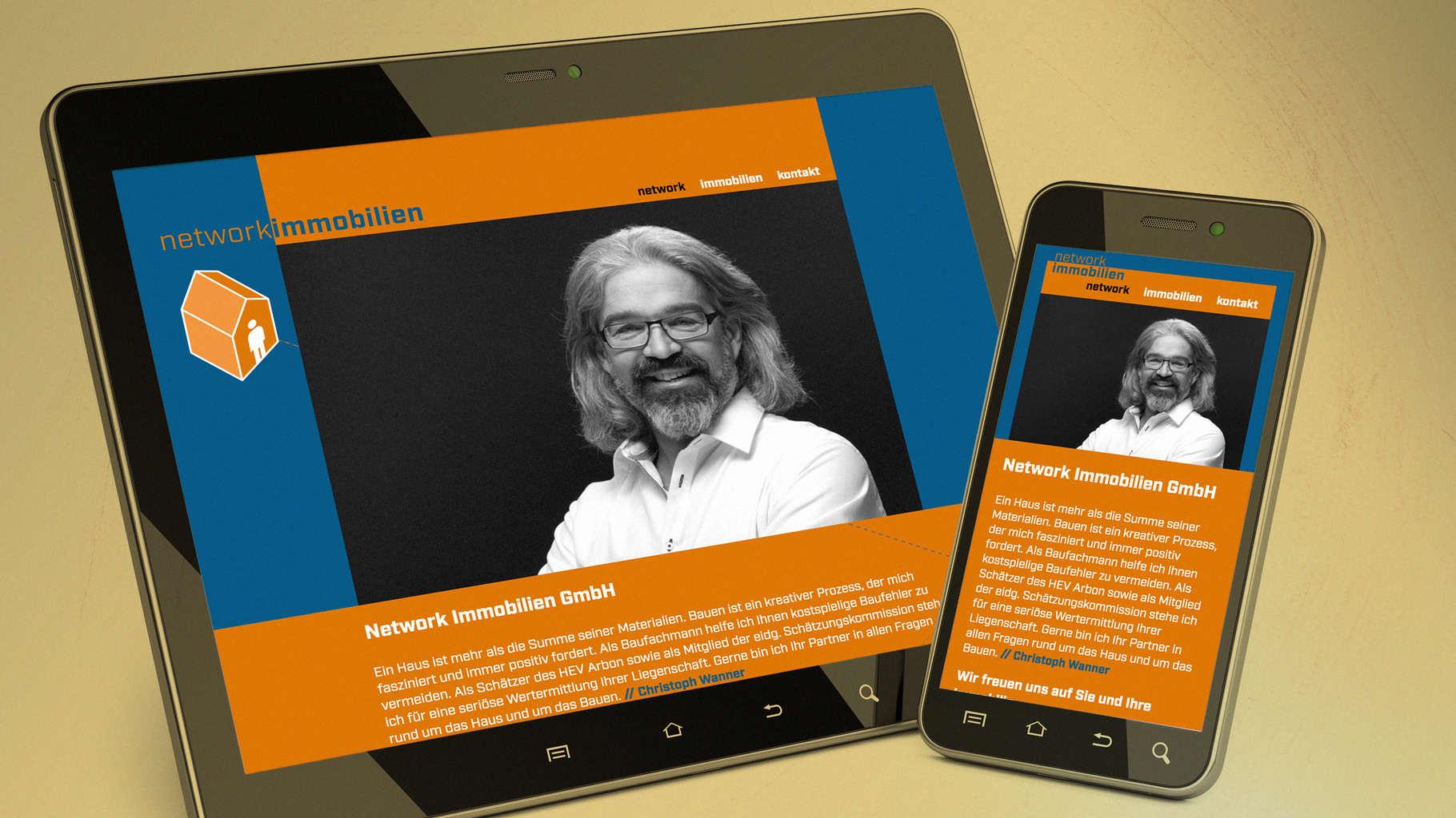 network immobilen - Website auf Tablet und Smartphone